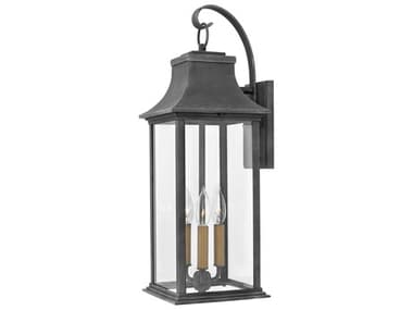 Hinkley Lighting Adair Aged Zinc Three-Light 9'' Wide Outdoor Wall Light HY2935DZ
