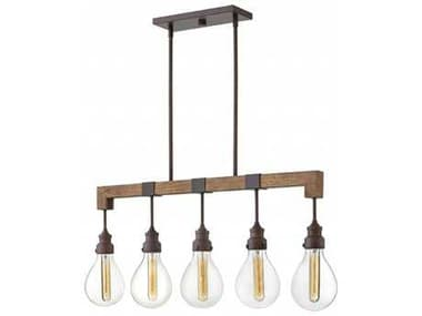 Hinkley Lighting Denton Industrial Iron with Clear Glass Five-Light 36'' Wide Island Light HY3266IN