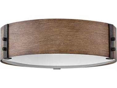 Hinkley Lighting Sawyer Sequoia with Etched Glass Three-Light Outdoor Flush Mount Light HY29203SQ