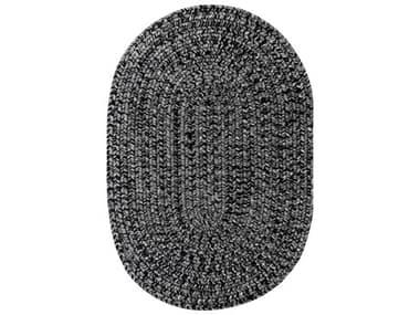 Homespice Decor Ultra Durable Braided Rugs Black / Grey Oval Area Rug HOBLACKBLACKOVA