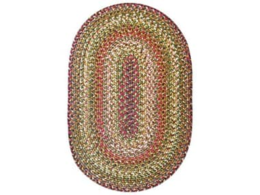 Homespice Decor Ultra Durable Braided Rugs Beige / Red / Green Oval Area Rug HORAINFORESTBEIGEOVA