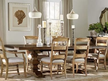 Hooker Furniture Archivist Dark Wood 86''-122''L x 44''W Rectangular Trestle Dining Table HOO544775206