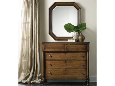 Hooker Furniture Archivist Dark Wood Five-Drawers Bureau Single Dresser with Mirror Set HOO544790011SET