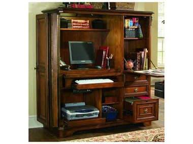 Hooker Furniture Brookhaven Distressed Medium Cherry 55''L x 26''W Rectangular Computer Desk Cabinet HOO28110309