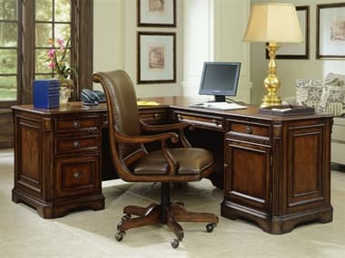 Hooker Furniture Brookhaven Distressed Medium Cherry 68''L x 79''W Rectangular L-Shaped Executive Desk HOO28110453