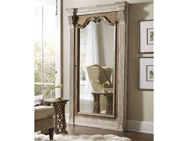 Hooker Furniture Chatelet White 47''W x 84''H Rectangular Floor Mirror with Jewelry Armoire Storage HOO535150003