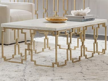 Hooker Furniture Evermore Kala White Marble / Gold 52'' Wide Rectangular Coffee Table HOO16878011000