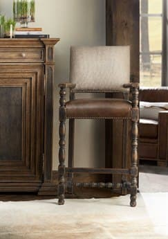 Hooker Furniture Hill Country Black Arm Counter Height Stool HOO596025350BLK