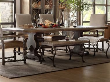 Hooker Furniture Hill Country Timeworn Saddle Brown / Anthracite Black 86-122''W x 44''D Rectangular Bandera Dining Table with Extension HOO596075200BRN