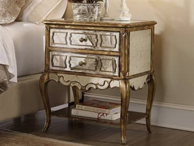 Hooker Furniture Sanctuary Bling - A Deep, Rich Gold Accented By Leafing 2 Drawers Nightstand HOO301690015