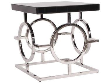 Howard Elliott Stainless Steel And Black 24'' Square End Table HE11183