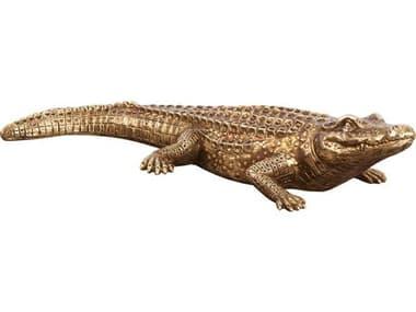 Howard Elliott Antiqued Gold Crocodile Sculpture HE52029
