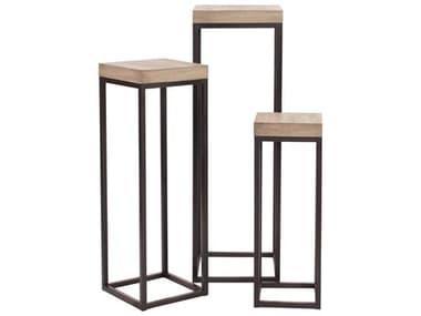 Howard Elliott Wood & Metal Pedestals (Set of Three) HE83035