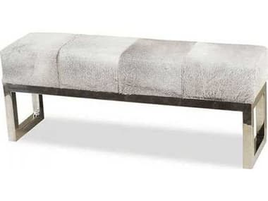 Interlude Home Polished Nickel/ Light Natural Hide Accent Bench IL145036