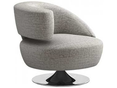 Interlude Home Feather / Polished Nickel Swivel Accent Chair IL1980214