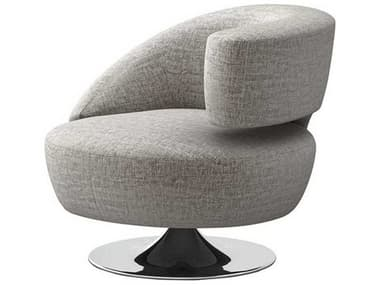 Interlude Home Feather / Polished Nickel Swivel Accent Chair IL1980224