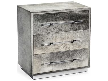 Interlude Home Cassian Natural Hide / Polished Nickel 28'' x 18'' Three Drawer Occasional Chest IL188053