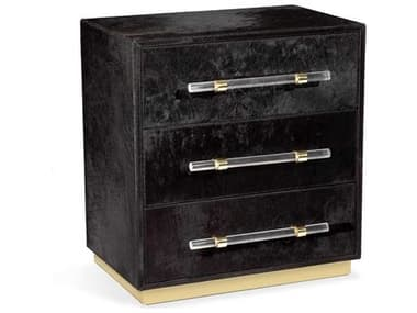 Interlude Home Cassian Black / Shiny Brass Clear Three-Drawer Nightstand IL188120