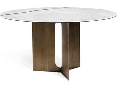 Interlude Home Statuario/ Antique Bronze 60'' Wide Round Dining Table IL168098
