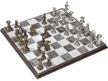 Interlude Home Ellis Walnut / Light & Dark Hide / Antique Brass Chess Set IL945024