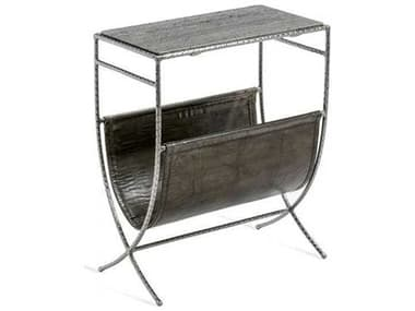 Interlude Home Antique Nickel/ Grey Marble/ Leather 18'' Wide Rectangular End Table IL125168