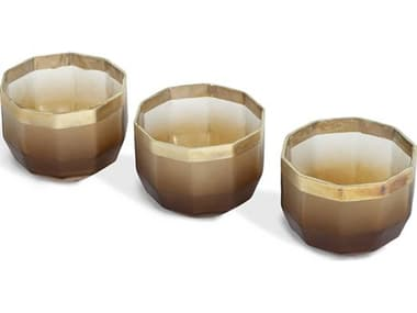 Interlude Home Sawyer Eclipse / Champagne Silver Decagon Votive Candle Holder (Set of 3) IL998043