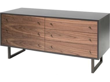 ION Design Franco Dark Charcoal / Walnut Six-Drawers Double Dresser IDP30319