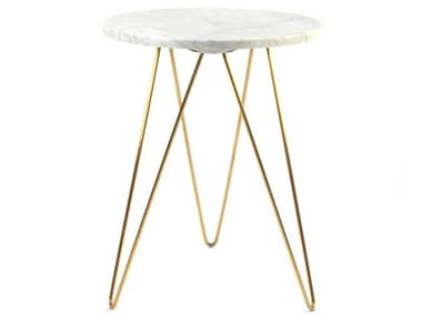 ION Design Solo White Marble / Stainless Steel 18'' Wide Round End Table IDP27679