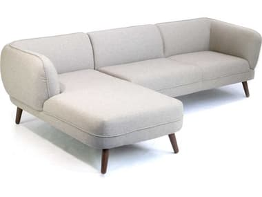 ION Design Visby Stone Grey / Natural Walnut Left Hand Facing Sectional Sofa IDP31632