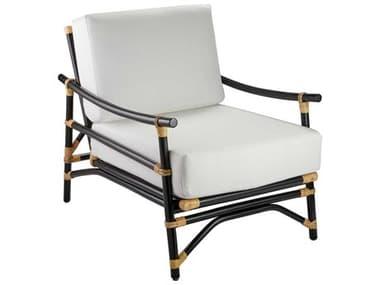 Jamie Young Company Black & Cream Rattan With Off White Cushion Accent Chair JYC20XANACHBK