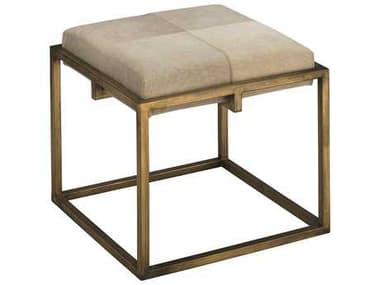 Jamie Young Company Shelby Antique Brass & White Hide Stool JYC20SHELSTWH