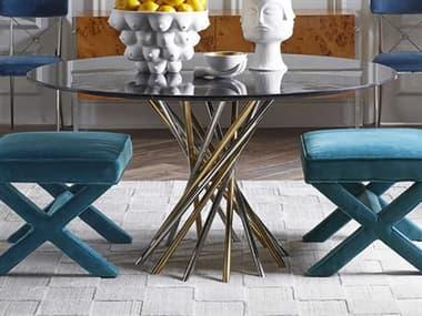 Jonathan Adler Electrum Black Marble / Brass Nickel 54'' Wide Round Dining Table JON27583
