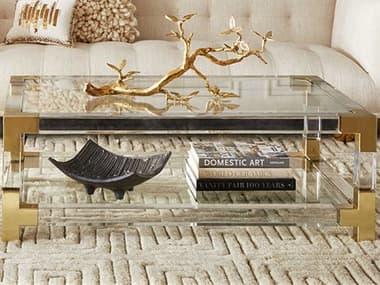 Jonathan Adler Jacques Clear / Brass 50'' Wide Rectangular Coffee Table JON26317