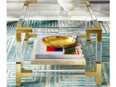 Jonathan Adler Jacques Clear / Brass 20'' Wide Square End Table JON26318