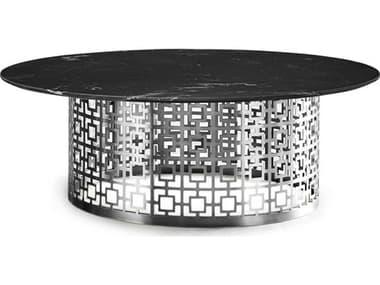 Jonathan Adler Nixon Black Marble / Nickel 44'' Wide Round Coffee Table JON26106