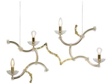 Karman Ghebo Glossy Gold Galvanic Plating / Transparent 4-light 32'' Wide Glass LED Island Light KAMSE1462OV11