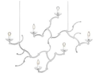 Karman Ghebo Semi Glossy White / Transparent 6-light 45'' Wide Glass LED Large Chandelier KAMSE1461BV11