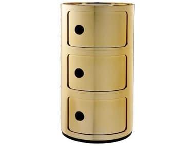 Kartell Componibili Gold Three-Door File Cabinet KAR5967GG