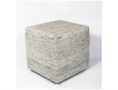 KAS Rugs Ice Blue Viscose Cube Pouf KGF801