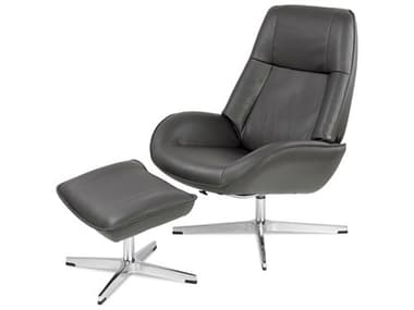 Kebe Roma Balder Gray Leather Recliner Chair with Footrest KEBKBROB75