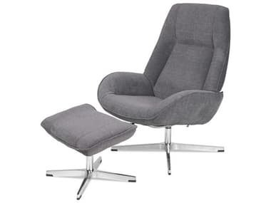 Kebe Roma Yeti Light Gray Fabric Recliner Chair with Footrest KEBKBROY72