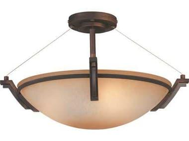 Kendal Lighting Portobello Oil Rubbed Bronze with Caspian Glass Three-Light 19'' Wide Semi Flushed Light KENFFP07POB03ORB