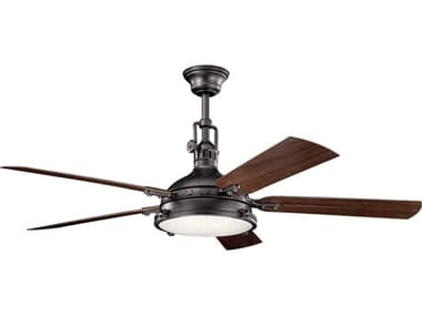 Kichler Lighting Hatteras Bay Anvil Iron 60'' Wide LED Outdoor Ceiling Fan with Walnut / Distressed Antique Grey  Reversible Blades KIC310017AVI