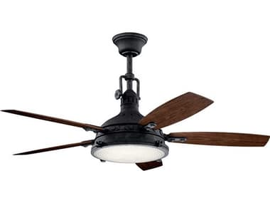 Kichler Lighting Hatteras Bay Distressed Black 52'' Wide LED Outdoor Ceiling Fan with Walnut / Cherry Reversible Blades KIC310018DBK
