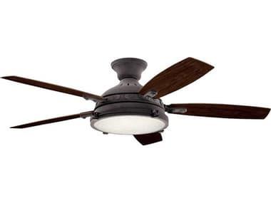 Kichler Lighting Hatteras Bay Weathered Zinc 52'' Wide LED Outdoor Ceiling Fan with Medium Walnut / Dark Walnut Reversible Blades KIC310018WZC