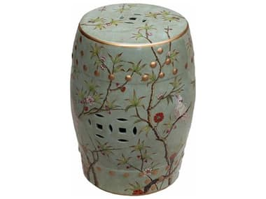 Legend of Asia Green Famille Rose Stool with Bird Floral Motif LOA1636