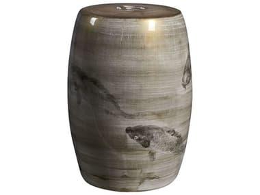 Legend of Asia Brown Ink Painting Koi Porcelain Garden Stool LOA2023