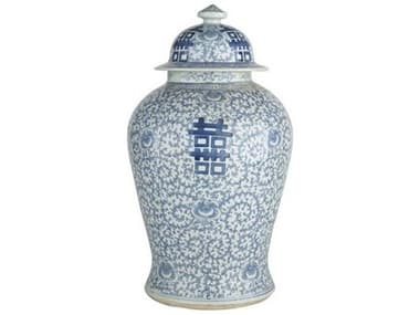 Legend of Asia Blue & White Large Double Happiness Floral Temple Jar LOA1574