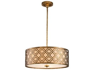 Lucas McKearn Arabella Distressed Gold 3-light 21'' Wide Glass Convertible Semi-Flush Mount / Pendant Light LCKGNARABELLAPL