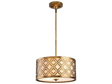 Lucas McKearn Arabella Distressed Gold 2-light 16'' Wide Glass Convertible Semi-Flush Mount / Pendant Light LCKGNARABELLAPM